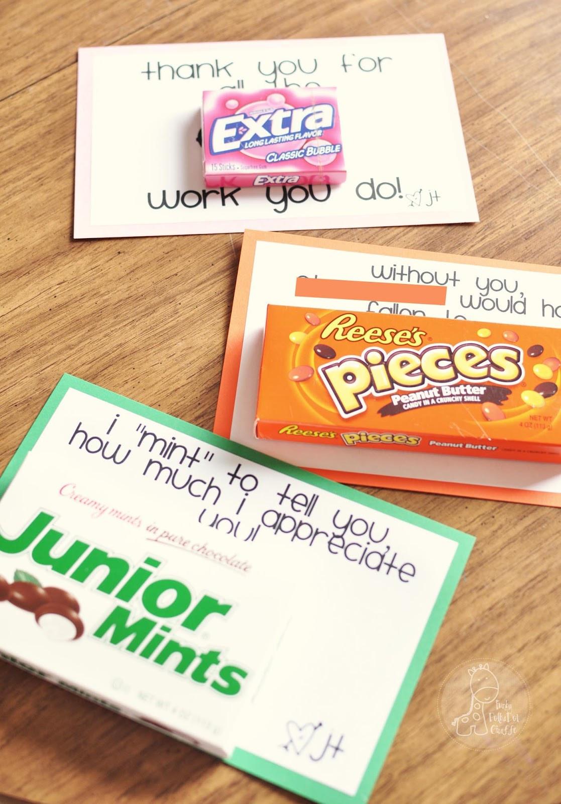 Thank You Gift Ideas For Teachers  Funky Polkadot Giraffe Teacher Appreciation Sweet Notes