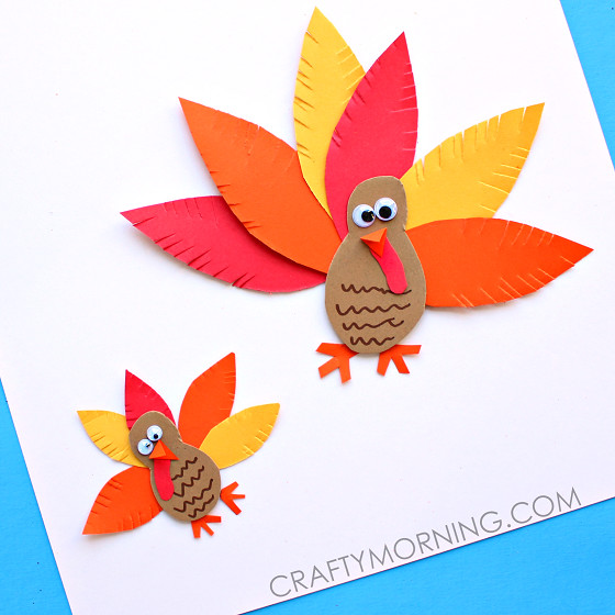 Thanksgiving Arts And Crafts For Toddlers  Simple Paper Turkey Craft for Kids Crafty Morning