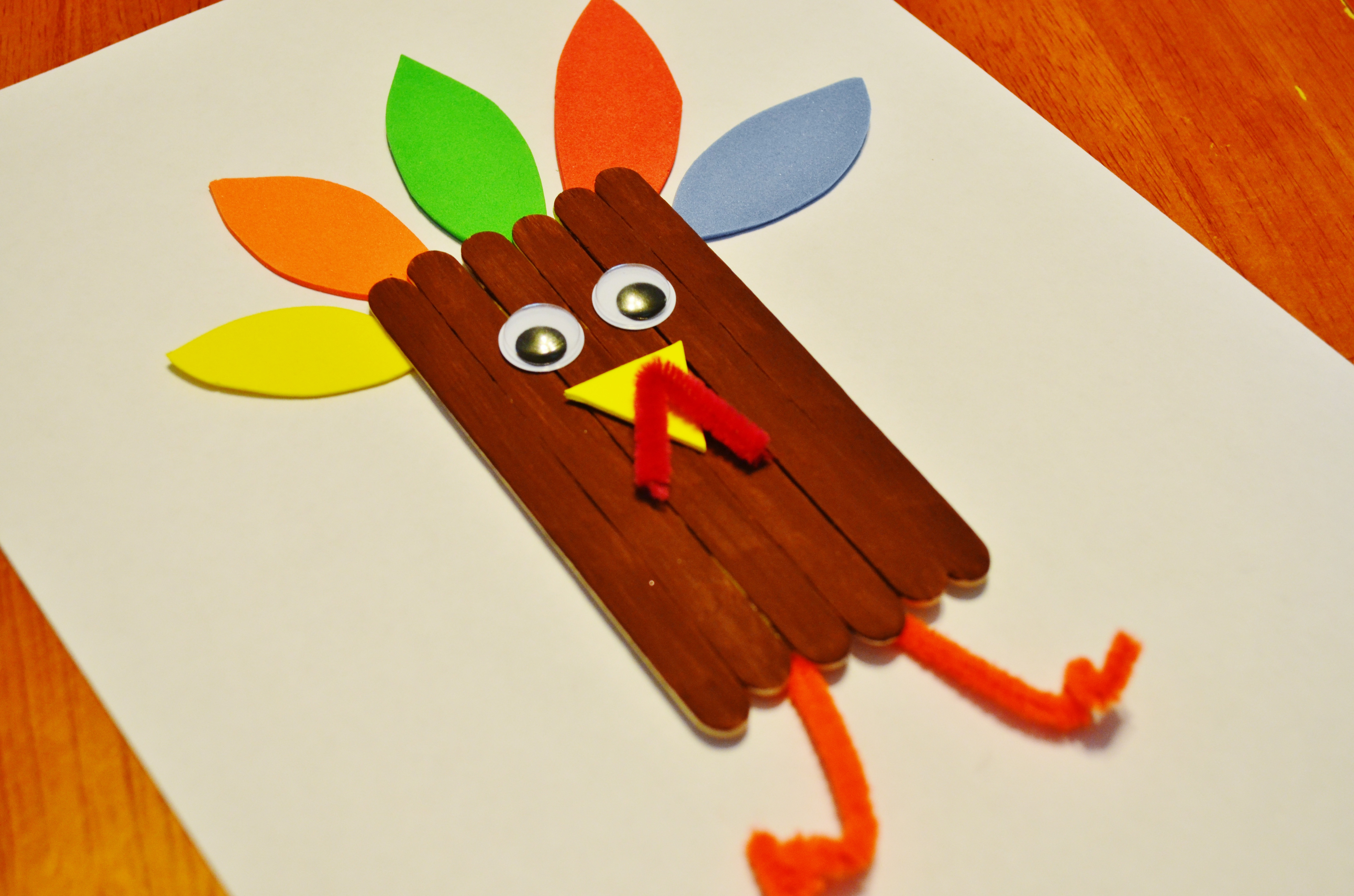 Thanksgiving Arts And Crafts For Toddlers  Thanksgiving Turkey Craft Sticks Craft for Kids
