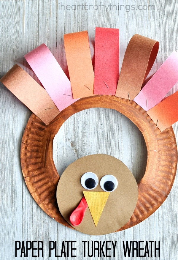 Thanksgiving Arts And Crafts For Toddlers  Paper Plate Thanksgiving Turkey Wreath