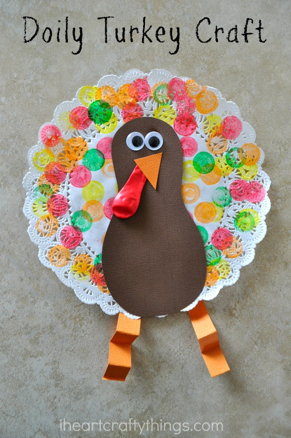 Thanksgiving Arts And Crafts For Toddlers  Doily Turkey Craft for Kids