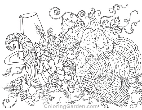 Thanksgiving Coloring Pages For Adults Free  Thanksgiving Adult Coloring Page