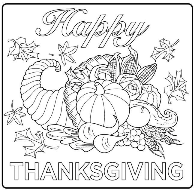 Thanksgiving Coloring Pages For Adults Free  Thanksgiving harvest cornucopia Thanksgiving Adult