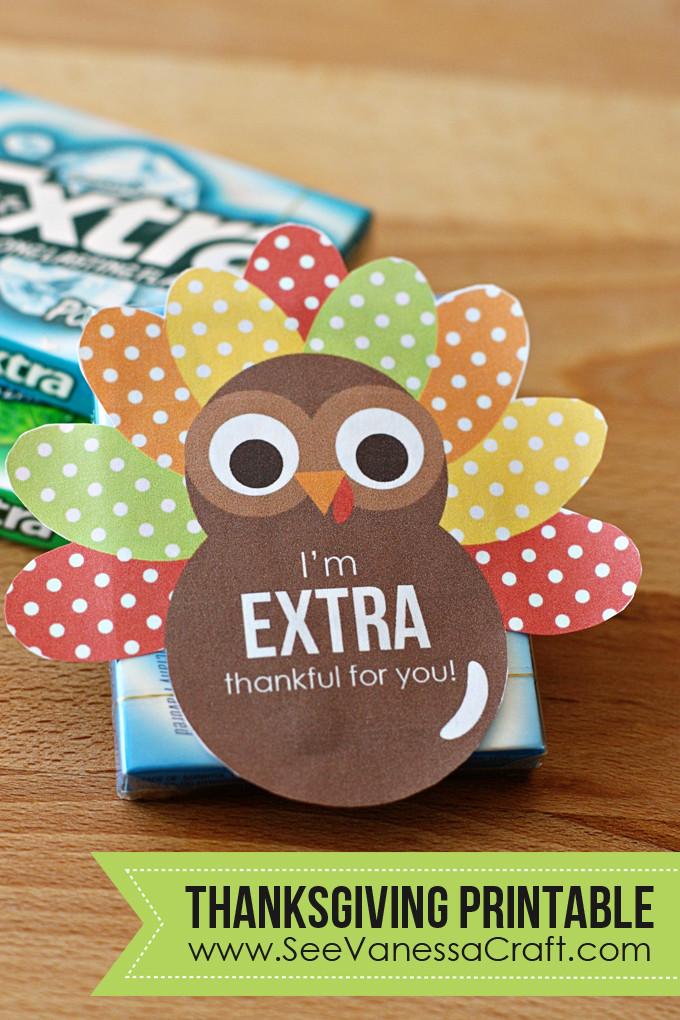 Thanksgiving Gift Ideas For Teachers  Thanksgiving Extra Thankful Turkey Printable Gift Tag