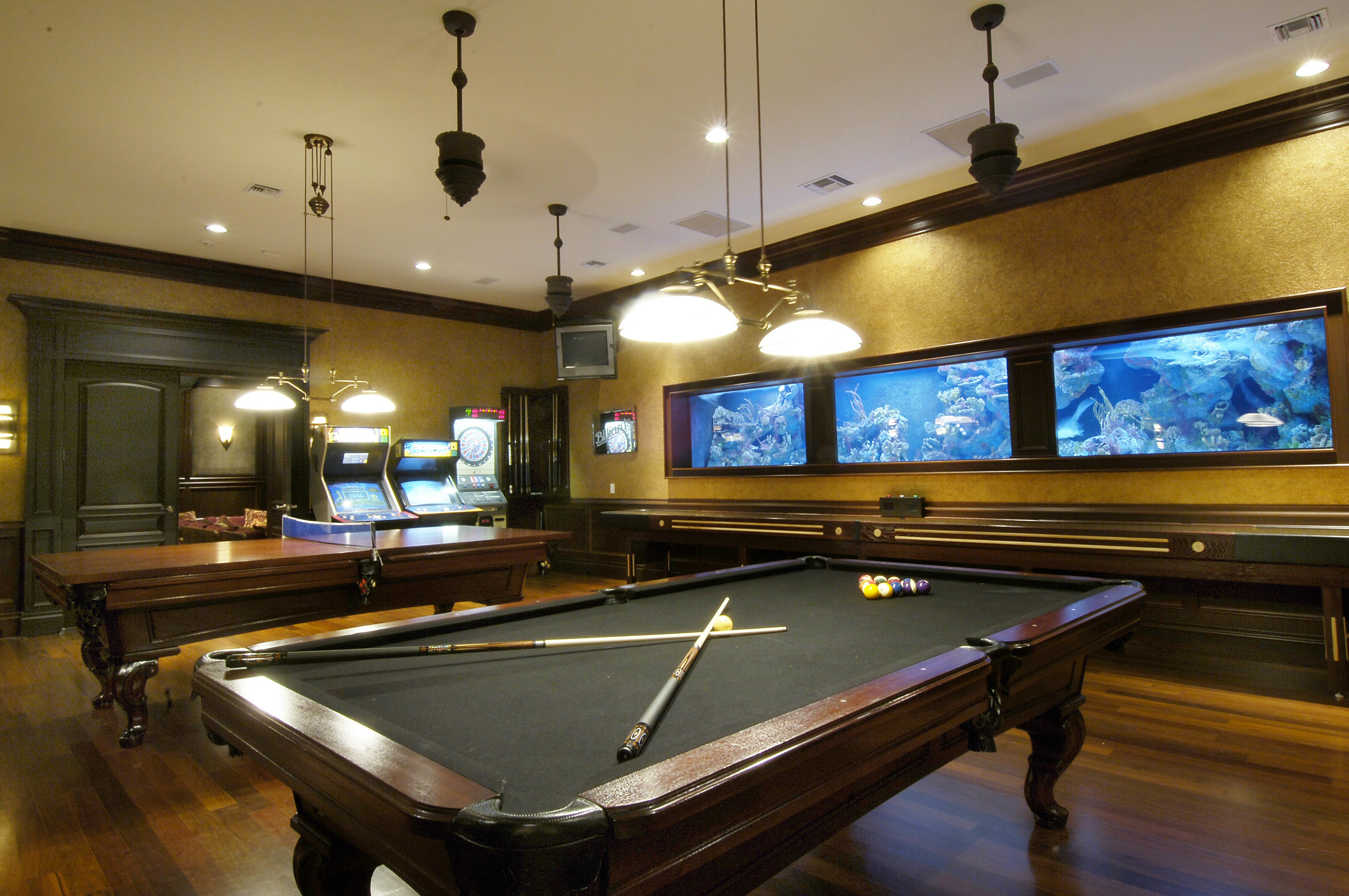 Best ideas about The Game Room . Save or Pin Classic Pool Table Under Ceiling Hanging Lights And Wall Now.