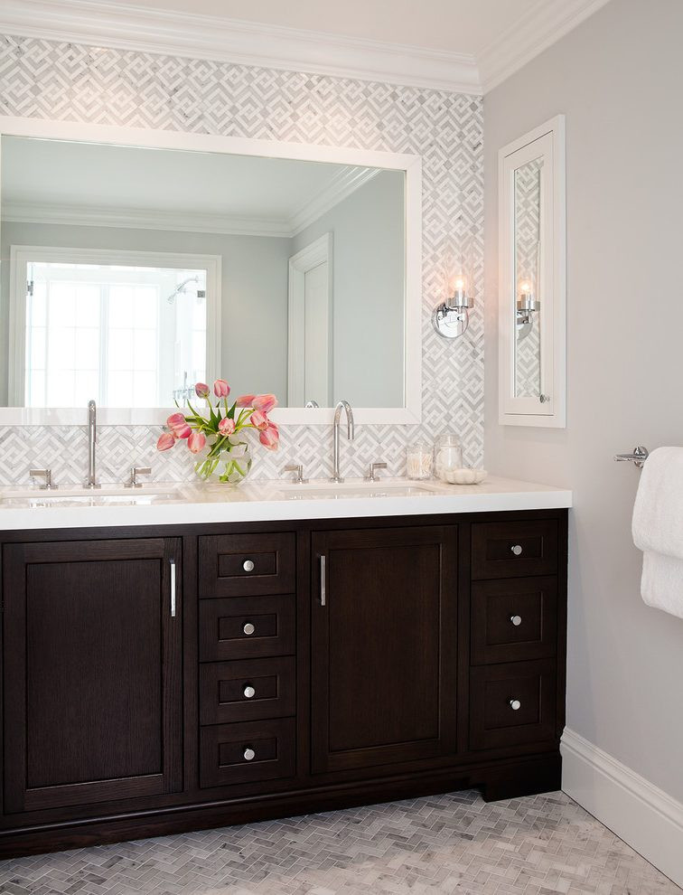 Best ideas about Tile Accent Wall . Save or Pin tile accent wall bathroom transitional with flooring Now.