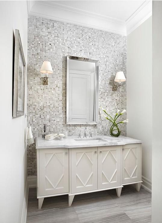 Best ideas about Tile Accent Wall In Bathroom . Save or Pin Gray Mosaic Tiled Bathroom Accent Wall Contemporary Now.