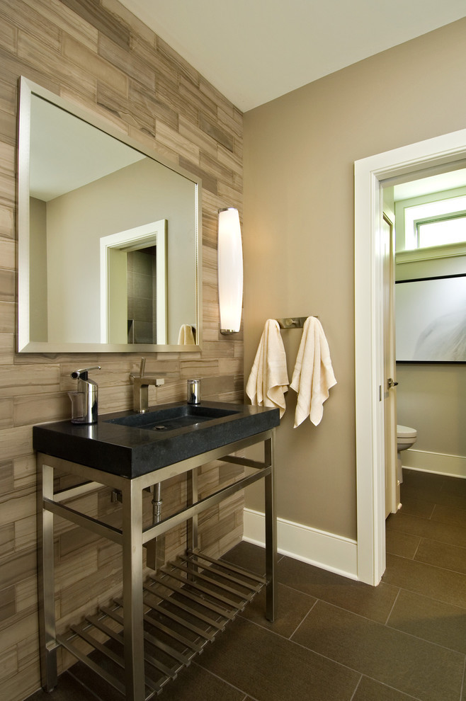 Best ideas about Tile Accent Wall In Bathroom . Save or Pin stone forest sinks Bathroom Rustic with accent tile accent Now.