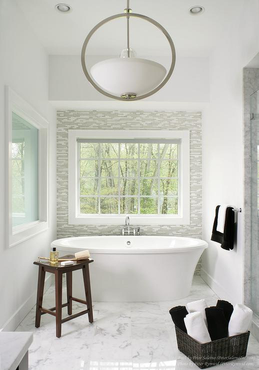 Best ideas about Tile Accent Wall In Bathroom . Save or Pin Bathroom with Gray Glass Tile Accent Wall Contemporary Now.