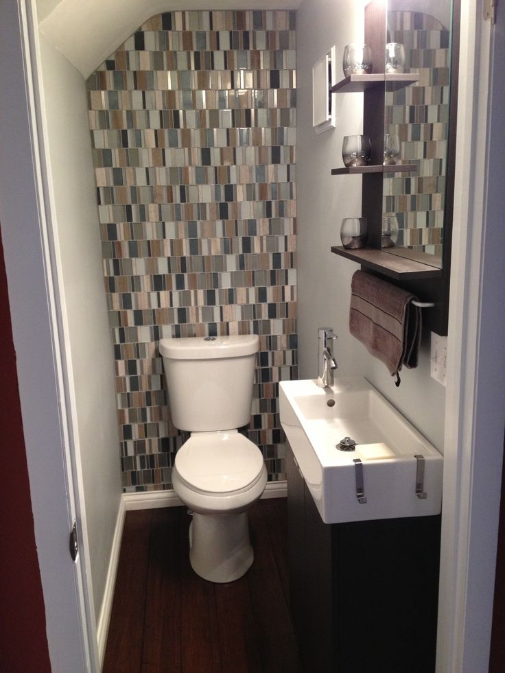 Best ideas about Tile Accent Wall In Bathroom . Save or Pin Small bathroom with glass tile backsplash Now.
