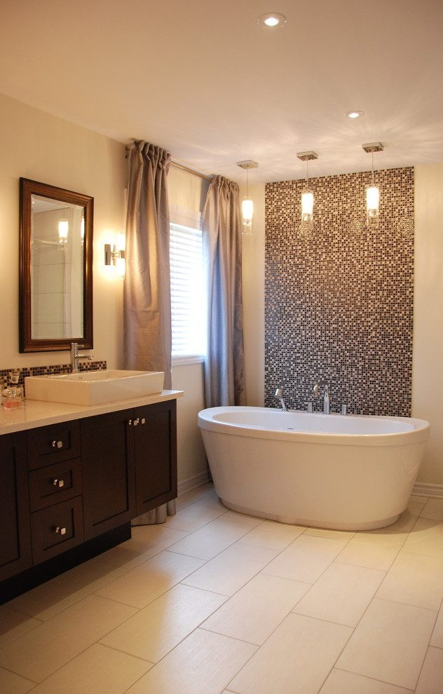 Best ideas about Tile Accent Wall In Bathroom . Save or Pin tile accent wall bathroom transitional with flooring Now.