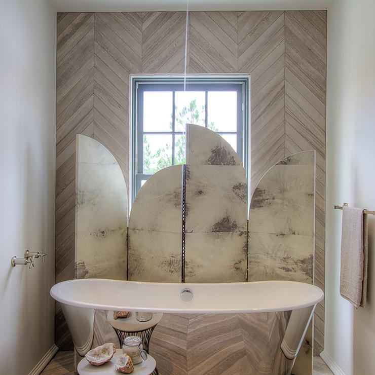 Best ideas about Tile Accent Wall In Bathroom . Save or Pin Tub Nook with Herringbone Tiled Accent Wall Contemporary Now.