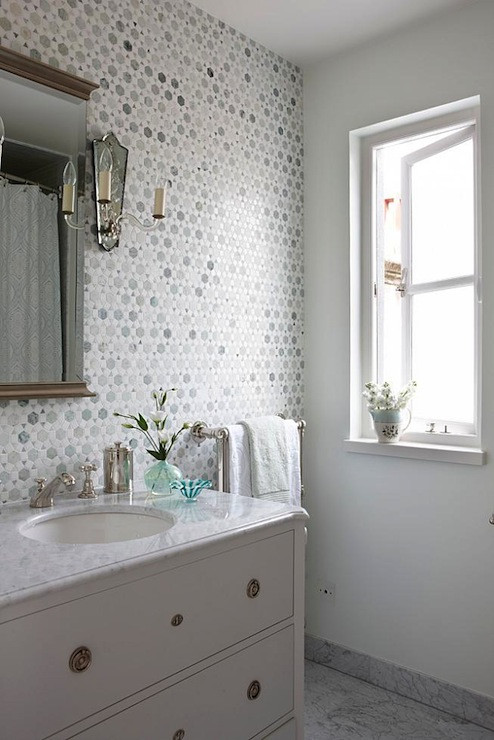 Best ideas about Tile Accent Wall In Bathroom . Save or Pin Sunflower Carrara Thassos Tile Transitional bathroom Now.