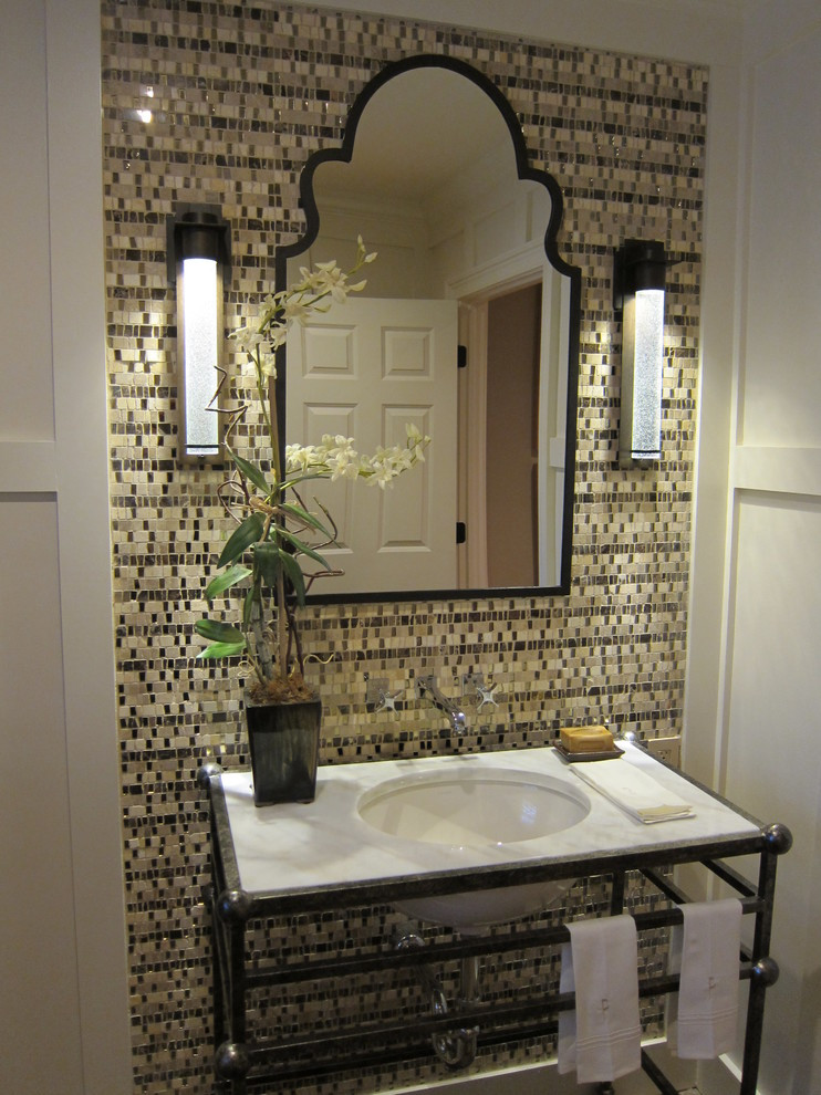 Best ideas about Tile Accent Wall . Save or Pin wrought iron vanity Bathroom Traditional with brick floor Now.