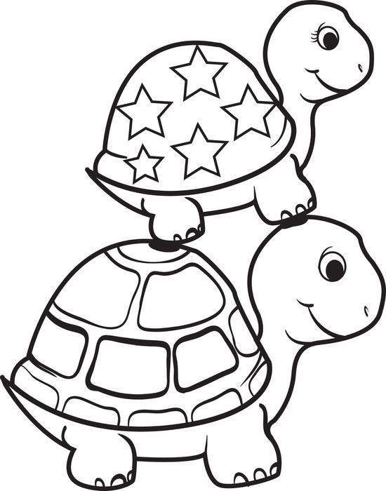 Turtle Coloring Books  Turtle Top of a Turtle Coloring Page