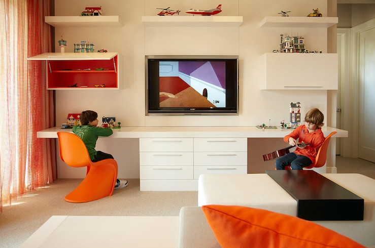 Best ideas about Tv For Kids Room . Save or Pin Kids d Desk Contemporary boy s room B and G Design Now.