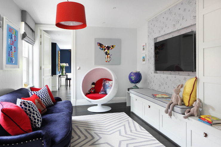 Best ideas about Tv For Kids Room . Save or Pin Kids TV Room Ideas Contemporary Den library office Now.