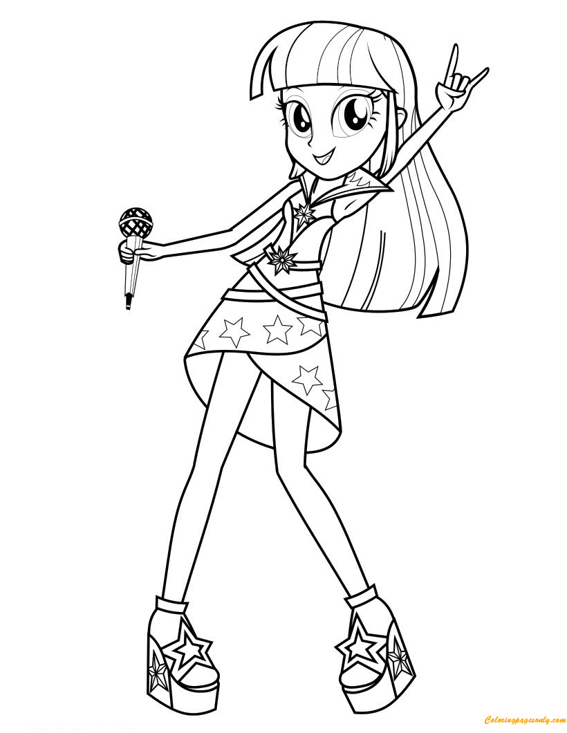 Twilight Coloring Sheets For Girls  Twilight Sparkle Sings Coloring Page Free Coloring Pages