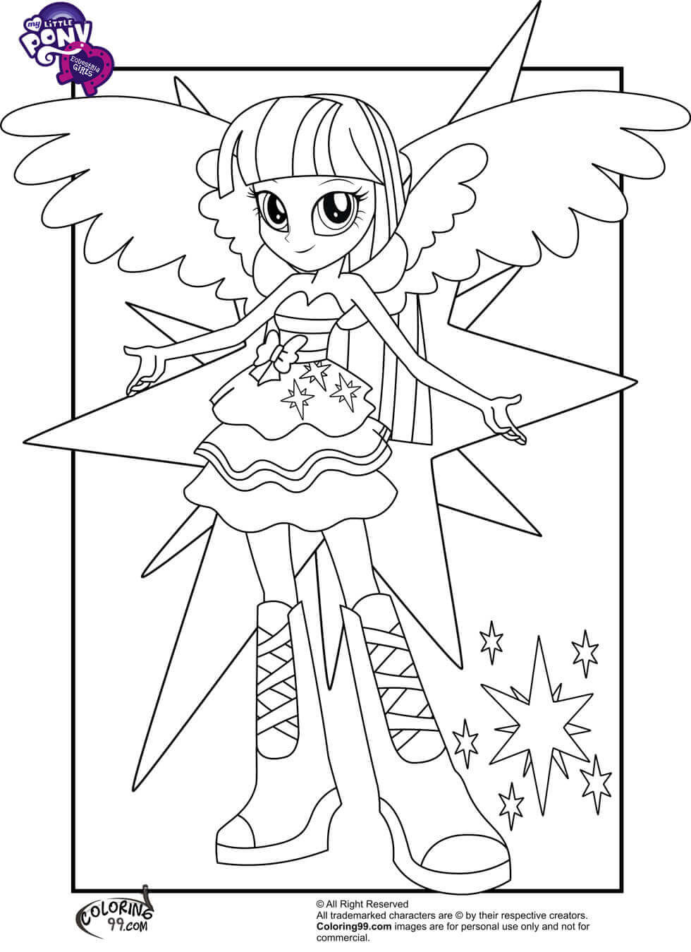 Twilight Coloring Sheets For Girls  15 Printable My Little Pony Equestria Girls Coloring Pages