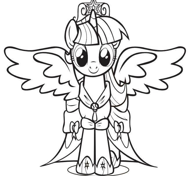 Twilight Coloring Sheets For Girls  Print the Princess Twilight Sparkle Little Pony Coloring