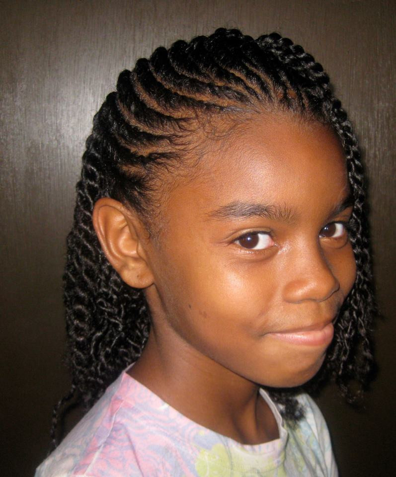 Twisted Hairstyles For Girls  Very pretty flat twist hairstyle for little girls So