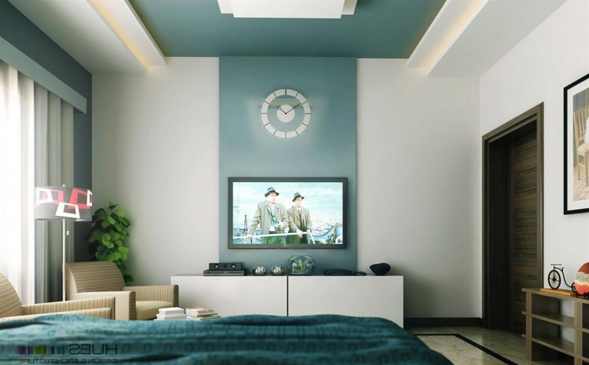Best ideas about Two Accent Walls . Save or Pin 2 Accent Walls In Bedroom e Big Wooden Standing Light Now.