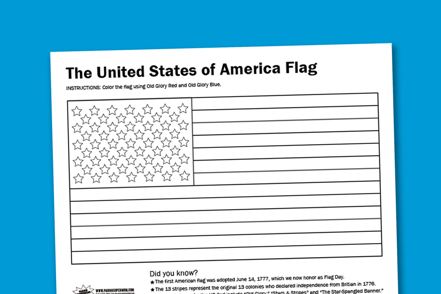 U.S.Flag Coloring Pages  Worksheet Wednesday USA Flag Coloring Page Paging Supermom