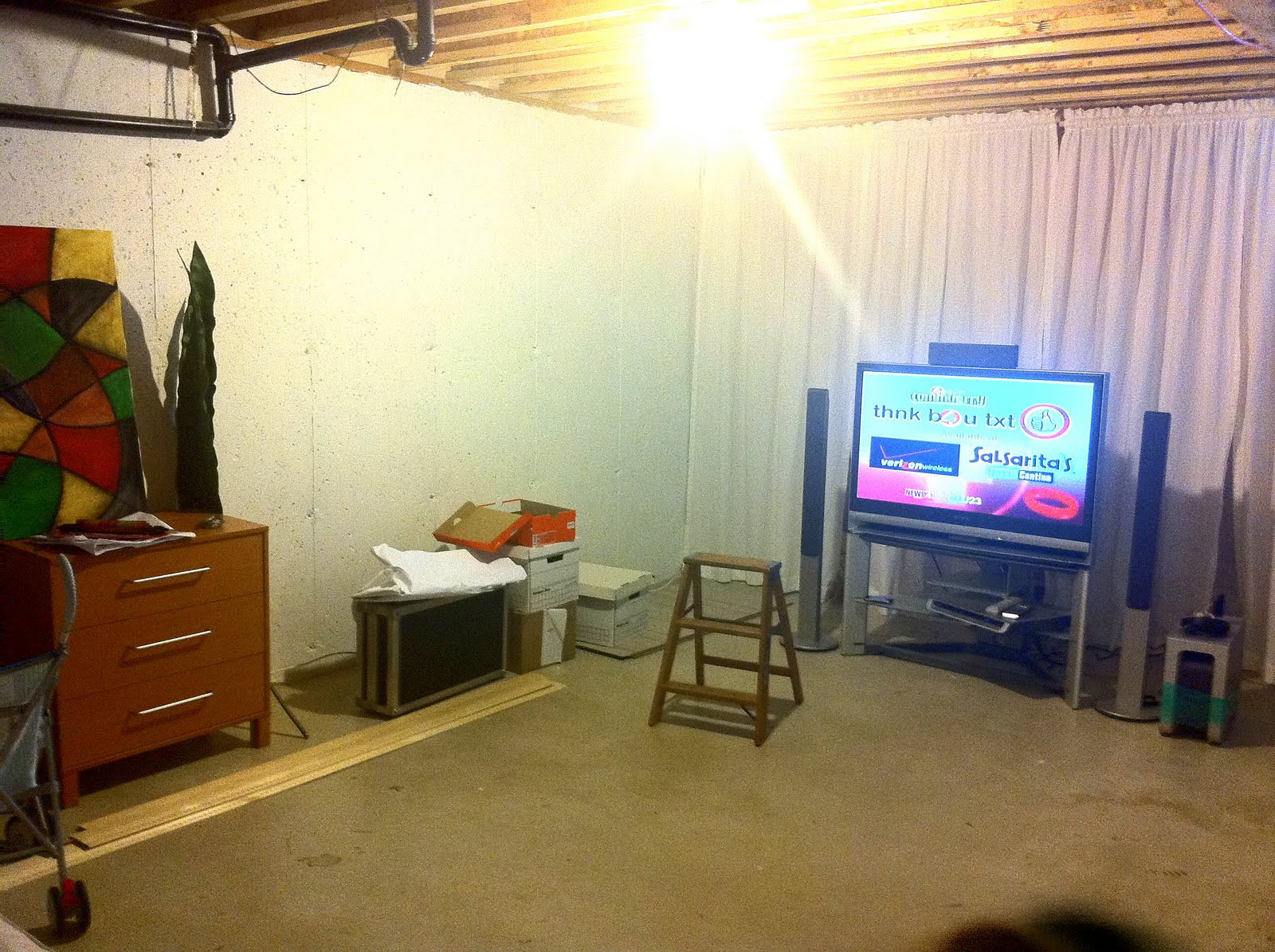 Best ideas about Unfinished Basement Decorating Ideas . Save or Pin HouSe aShoestring Unfinished Basement Decorating Now.