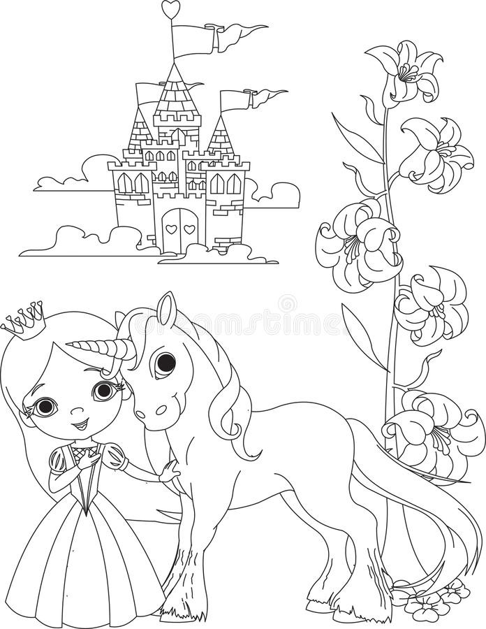 Unicorn Coloring Pages For Girls  Beautiful Princess And Unicorn Coloring Page Stock Vector