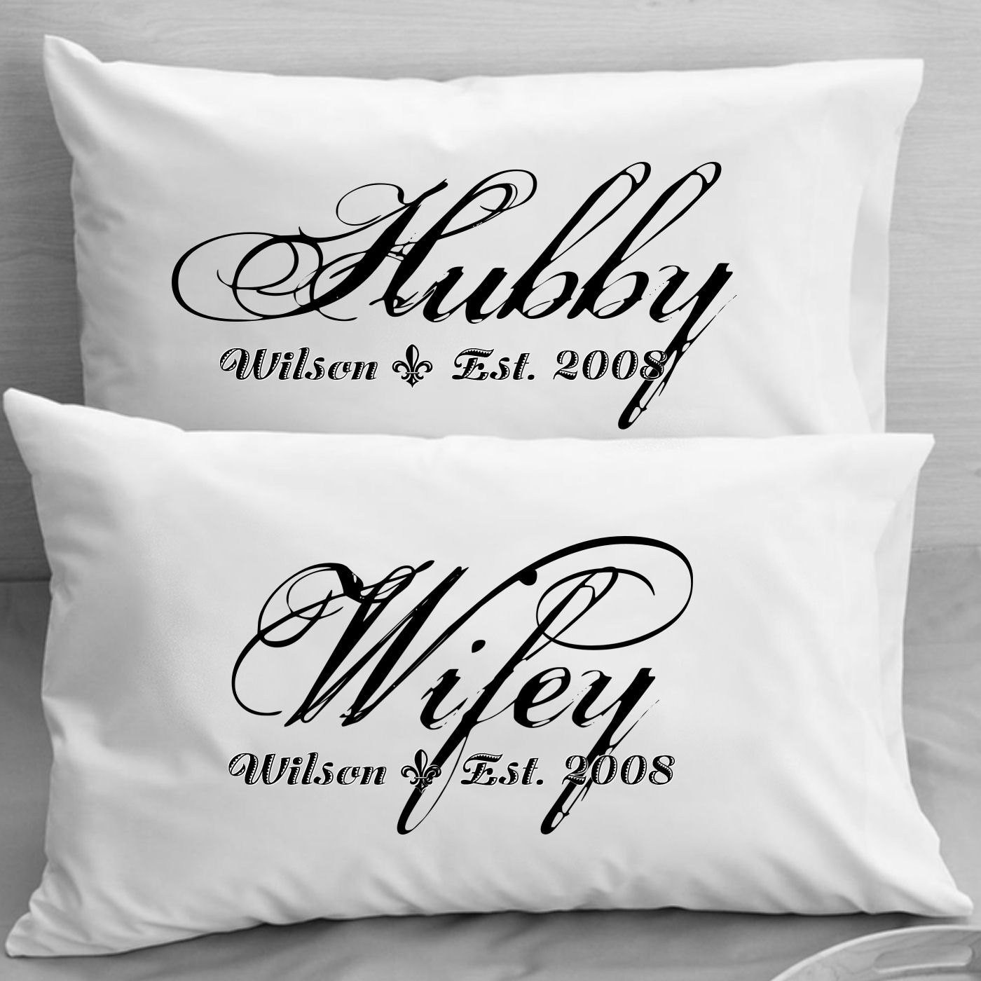 Unique Wedding Gift Ideas For Couple  Couples Pillow Cases Custom Personalized Wifey Hubby Wife