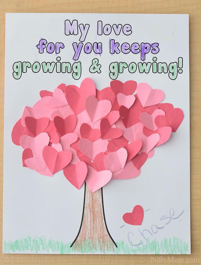 Valentine Craft Preschoolers  Heart Tree Craft for Kids Valentine s Day