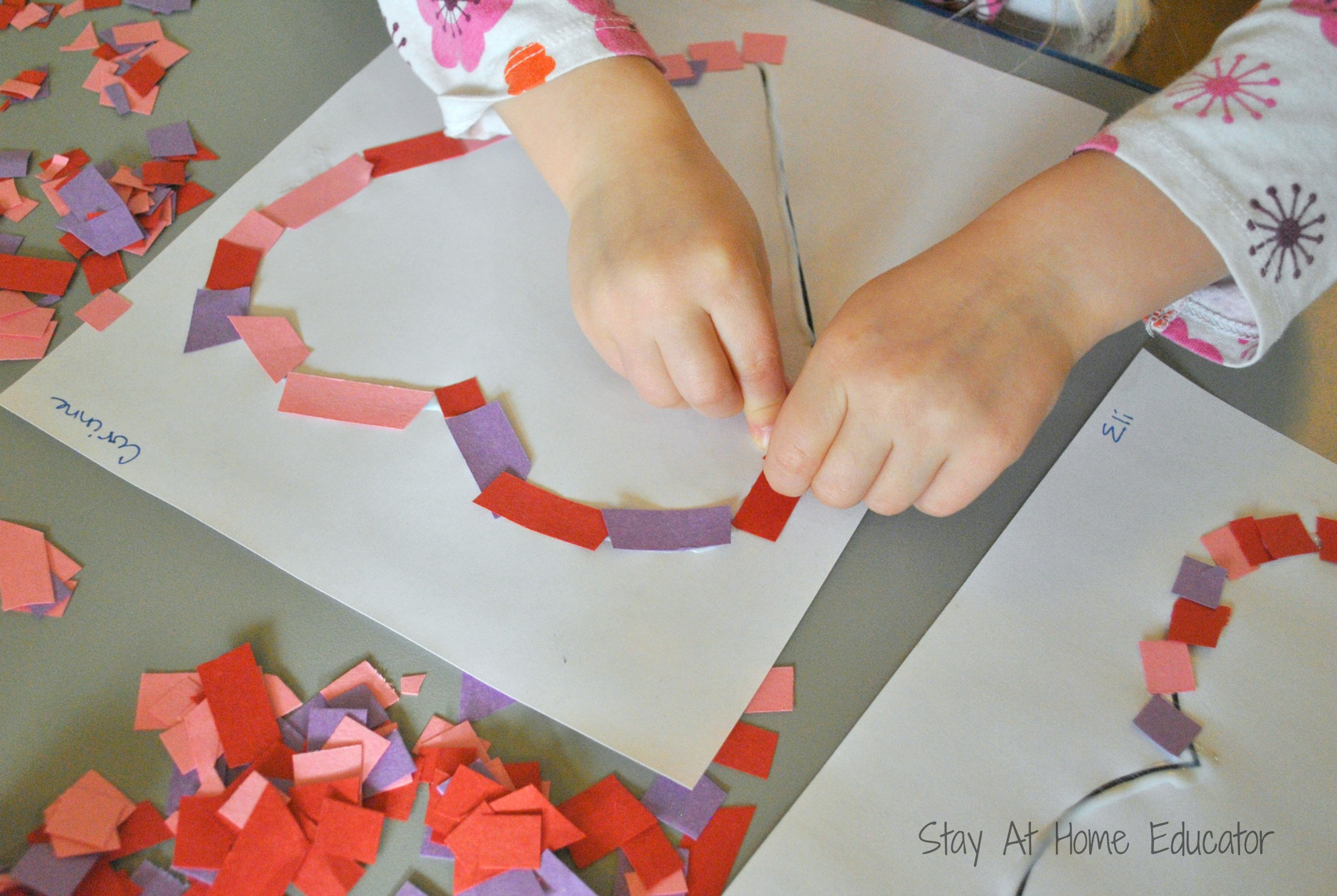 Valentine Craft Preschoolers  Confetti Hearts Valentine Craft Stay At Home Educator