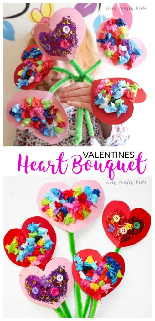 Best ideas about Valentine Crafts For Preschoolers Pinterest . Save or Pin Toddler Valentines Heart Bouquet Arty Crafty Kids Now.