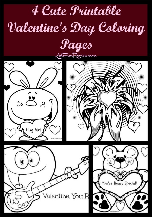 Valentine'S Day Coloring Pages Printable  4 Cute Printable Valentines Day Coloring Pages Sweet