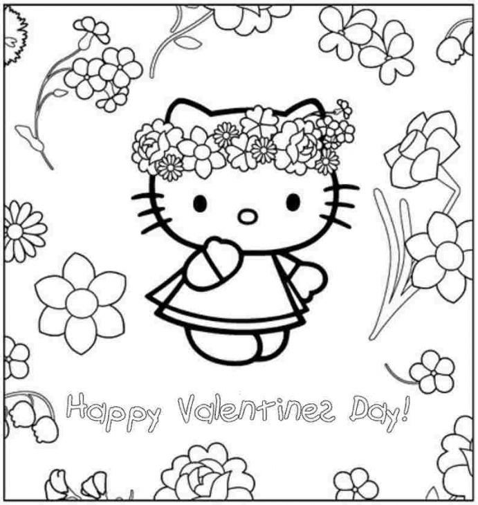 Best ideas about Valentines Coloring Sheets For Girls . Save or Pin Happy Valentines Day From Hello Kitty Coloring Page For Now.