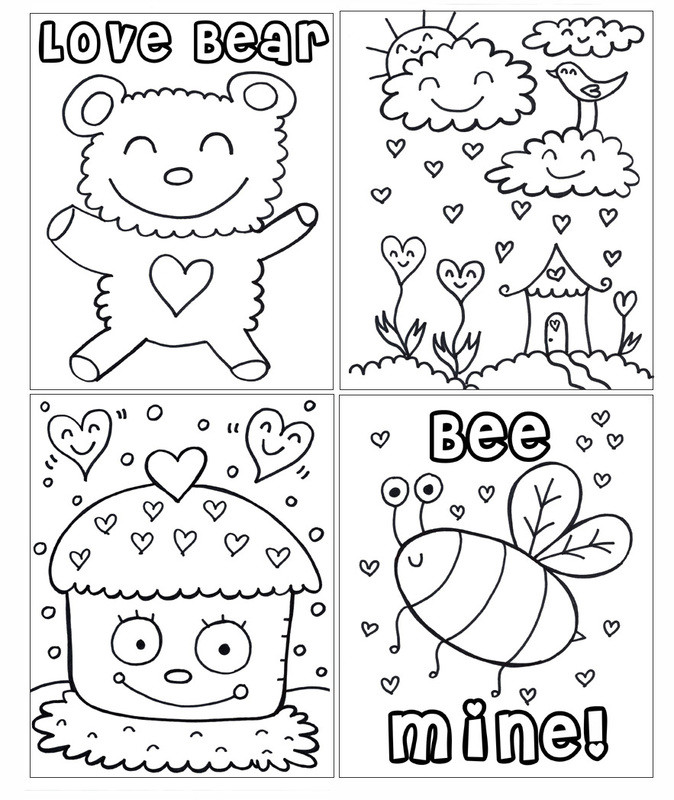Valentines Day Coloring Pages Pdf  New PDF Printable Valentine s Day Coloring Book Wel e