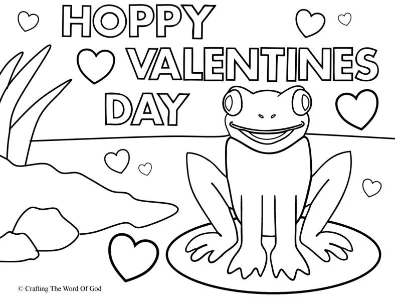 Valentines Day Coloring Pages Pdf  Hoppy Valentines Day Coloring Page Crafting The Word God