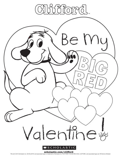 Valentines Day Coloring Pages Pdf  Clifford s My Big Red Valentine Coloring Sheet