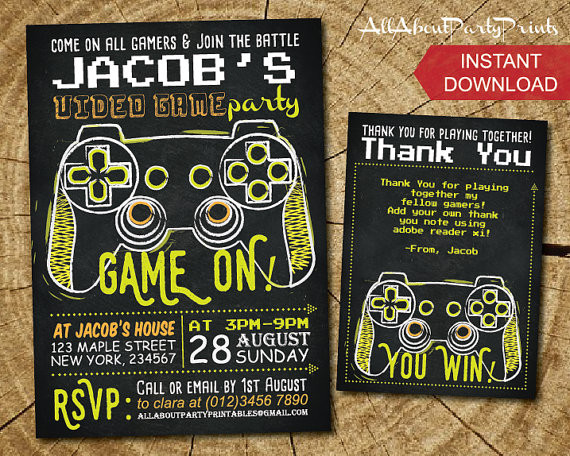 Best ideas about Video Game Birthday Invitations . Save or Pin Video Game Birthday Party Invitations Now.