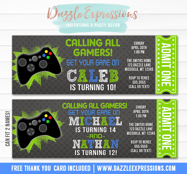Best ideas about Video Game Birthday Invitations . Save or Pin Printable Video Game Ticket Birthday Invitation Boys Now.
