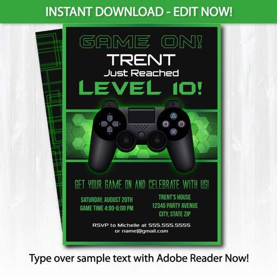 Best ideas about Video Game Birthday Invitations . Save or Pin Video Game Party Invitations Video Game Invitation by Now.