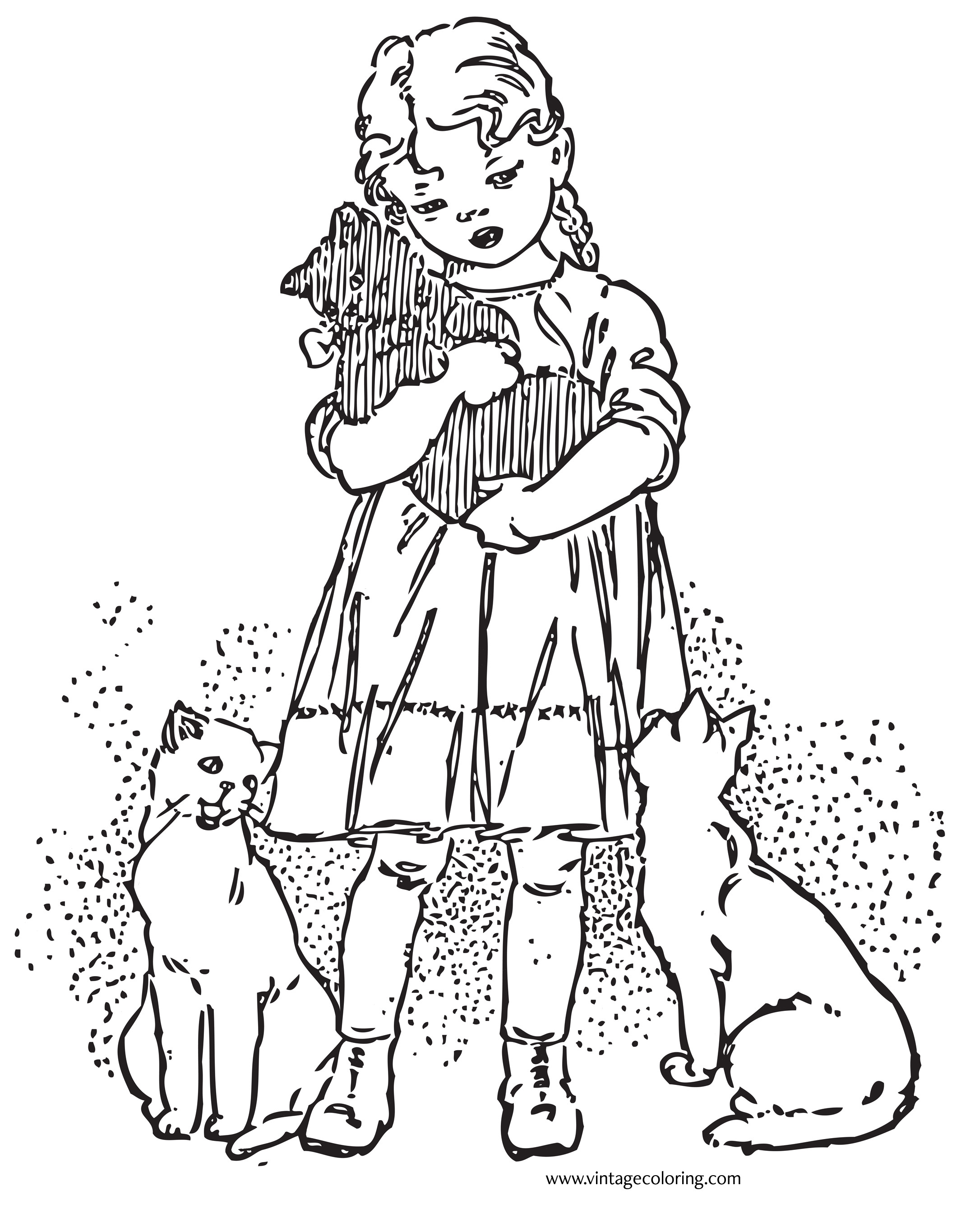 Vintage Coloring Book Pages  Girl and Favorite Kitten A Free Vintage Coloring Page