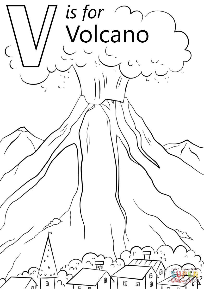 Volcano Coloring Pages  V is for Volcano coloring page