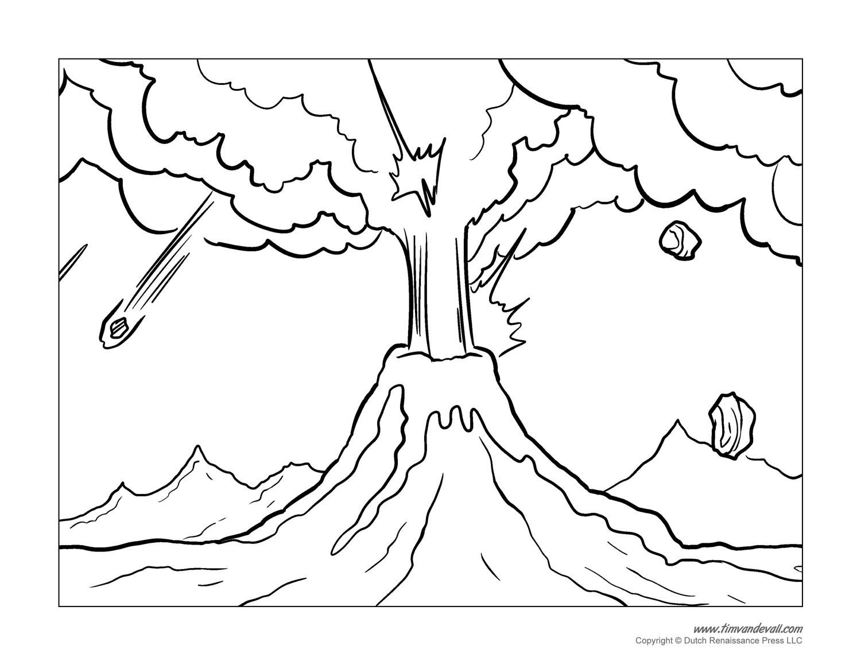 Volcano Coloring Pages  Volcano Coloring Pages