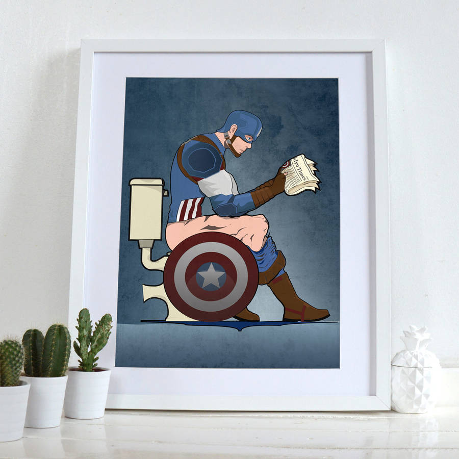 Best ideas about Wall Art Prints . Save or Pin captain america on the toilet poster wall art print by Now.