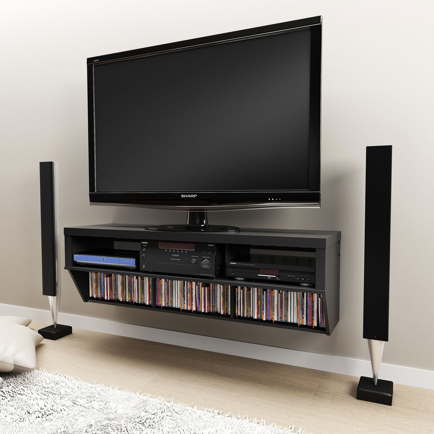 Best ideas about Wall Mount Tv Stand . Save or Pin Furniture Black Wall Mount Tv Stand With Tempered Glass Now.