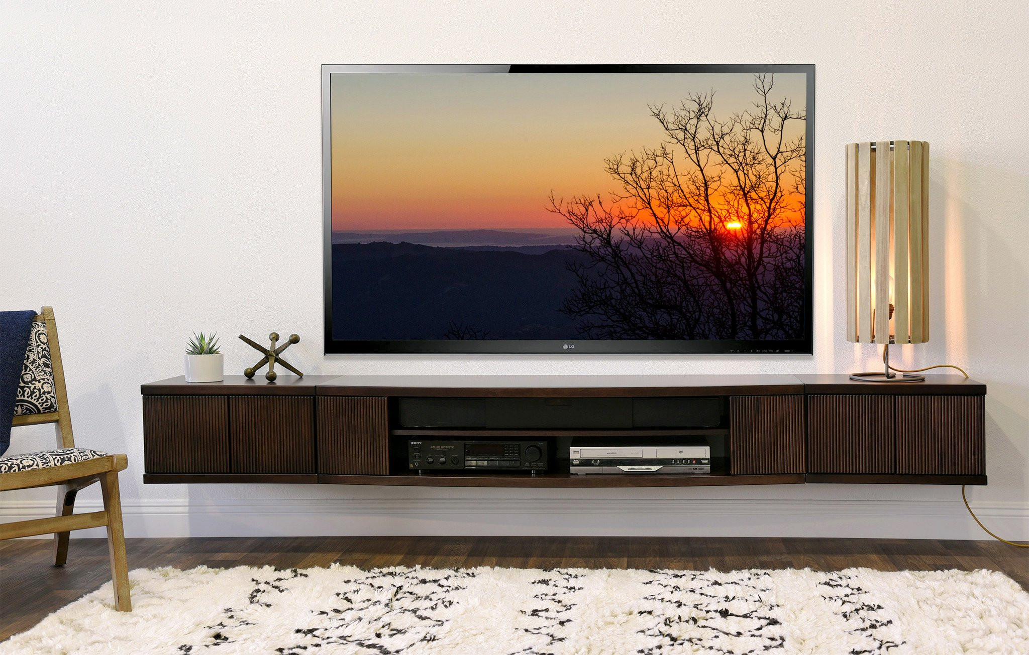 Best ideas about Wall Mount Tv Stand . Save or Pin Floating Wall Mount Entertainment Center TV Stand Curve Now.