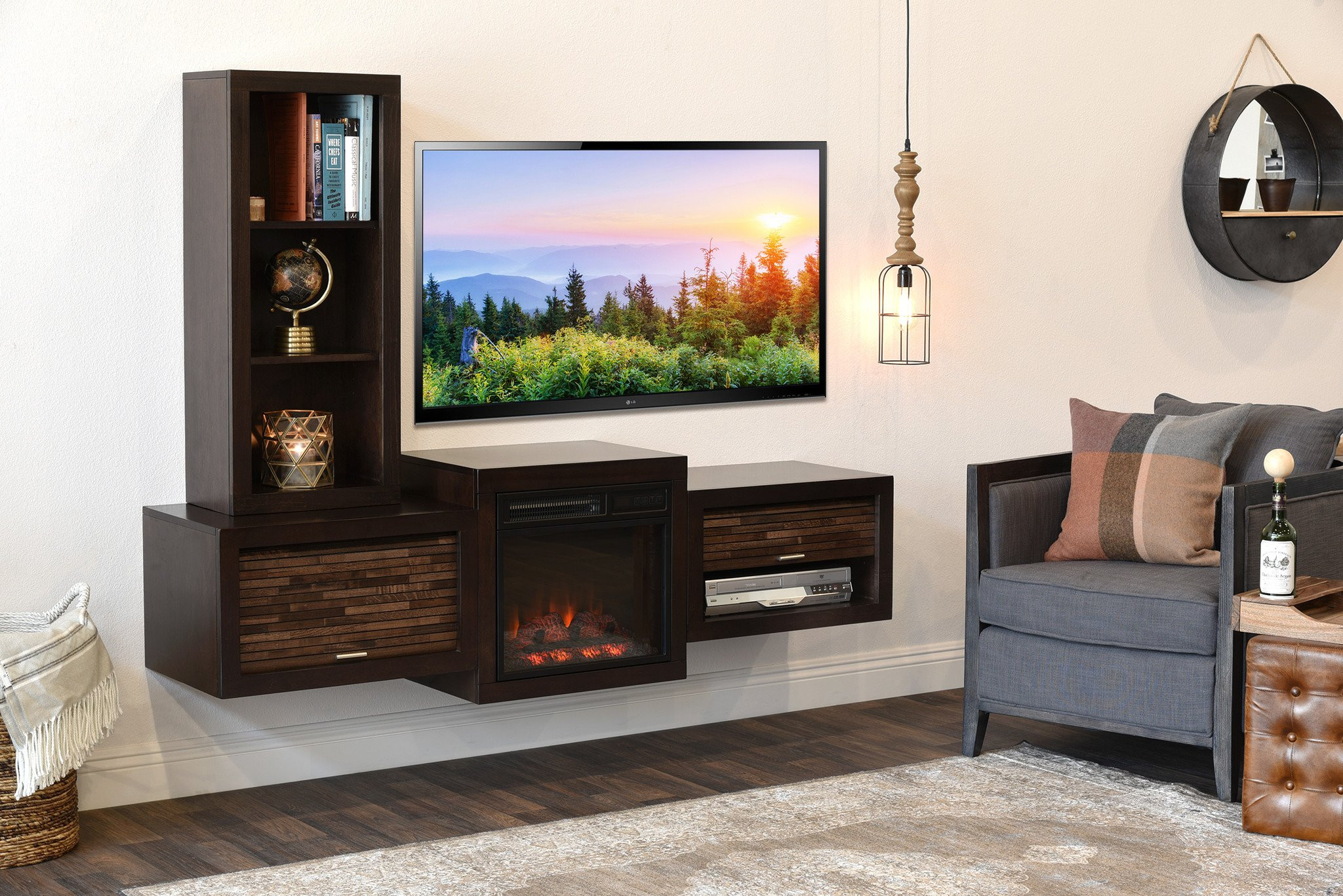 Best ideas about Wall Mount Tv Stand . Save or Pin Floating Wall Mount TV Stand With Fireplace and Bookcase Now.