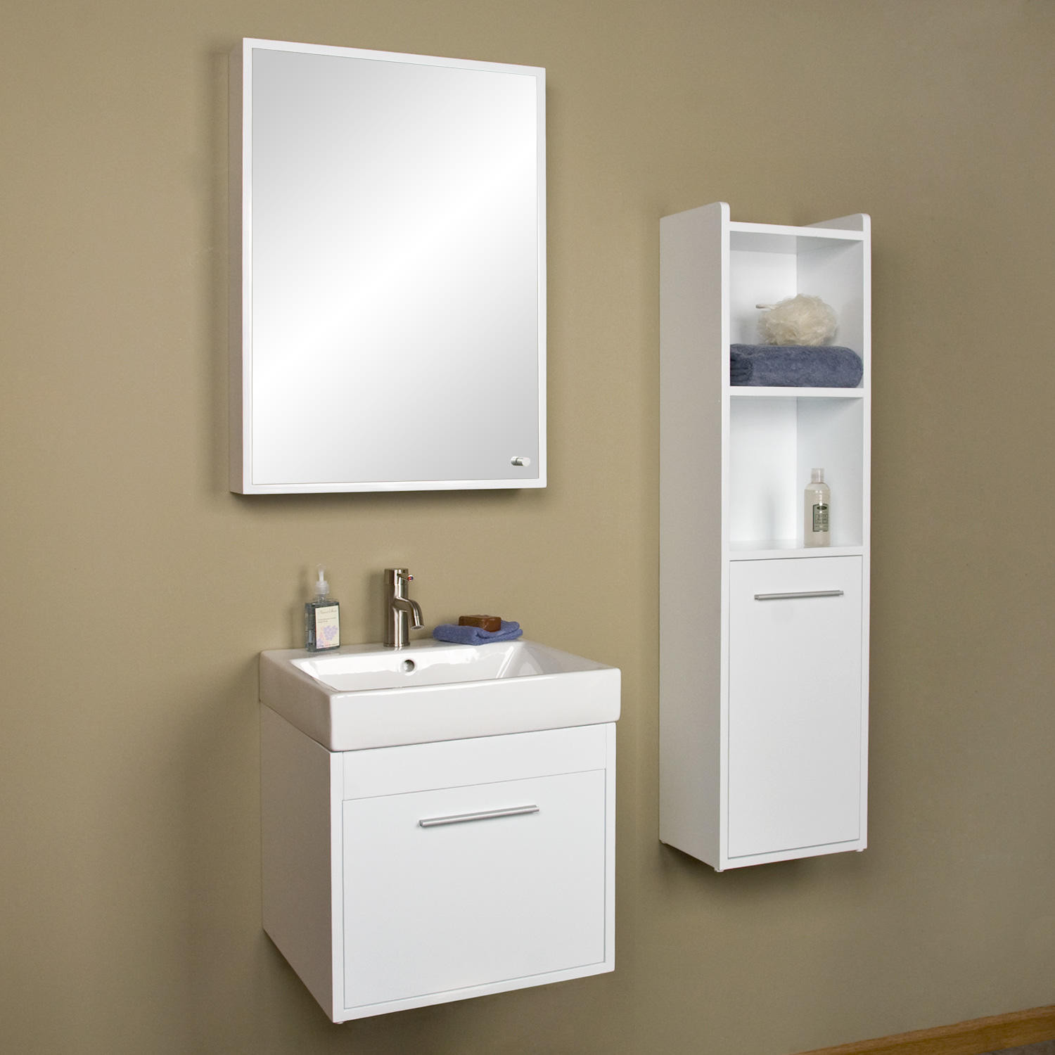 """Best ideas about Wall Mounted Bathroom Cabinets . Save or Pin 26"""" Sumiko Wall Mount Vanity with Medicine Cabinet Bathroom Now."""