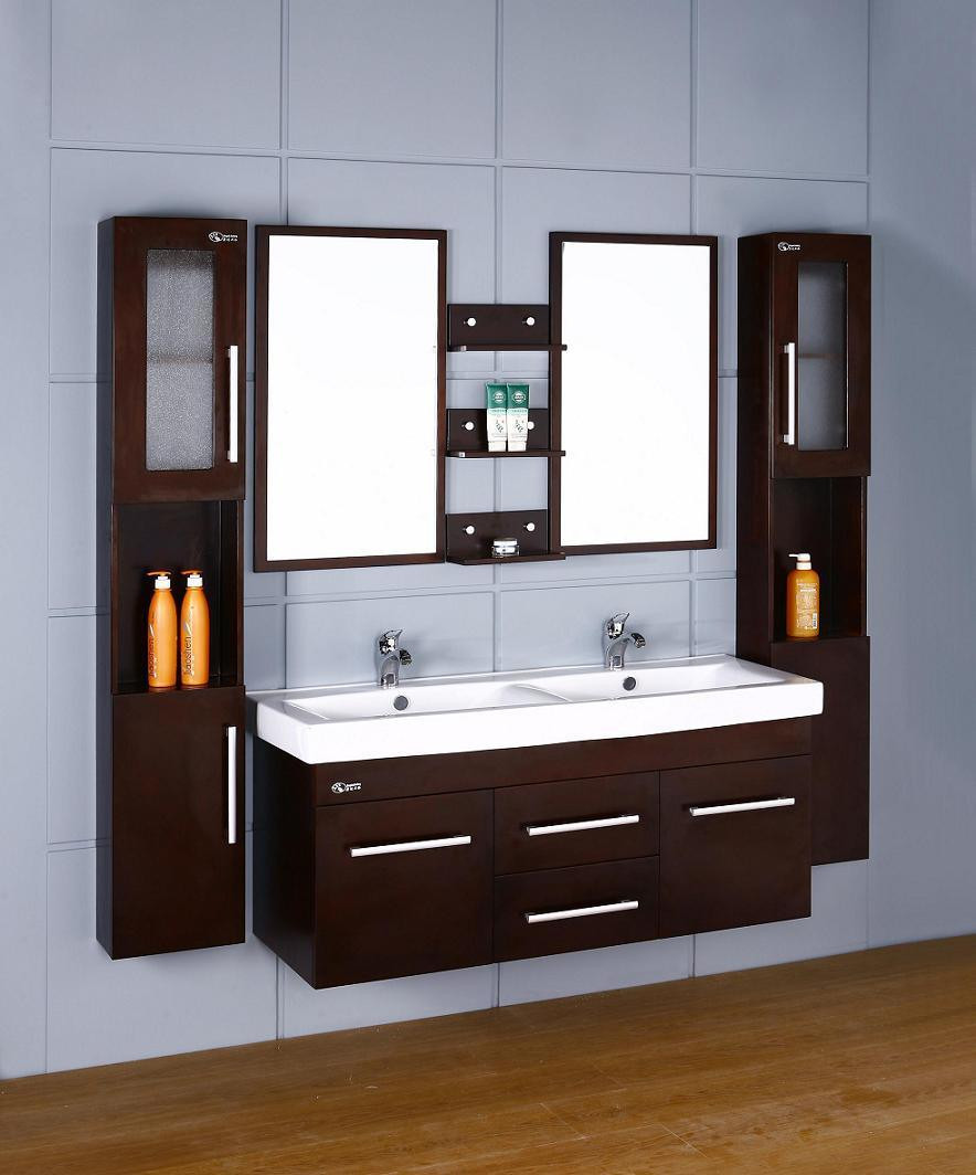 Best ideas about Wall Mounted Bathroom Cabinets . Save or Pin China Wooden Double Sink Wall Mounted Bathroom Vanities Now.